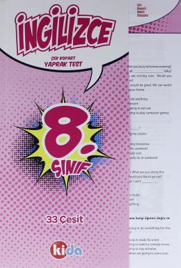 Kida 8. Sınıf İngilizce Çek Kopart Yaprak Test (İadesiz)